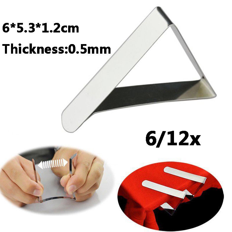 12x Stainless Steel Outdoor Camping Wedding Party Tablecloth Holder Clip Clamp