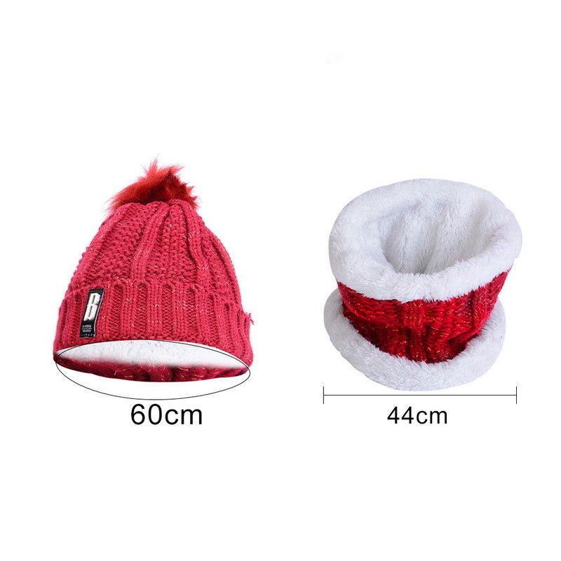 2Pcs Women Winter Scarf Hat Warm Set Solid Knitted Soft Cotton Bib Scarves Female Scarf Hat Cap