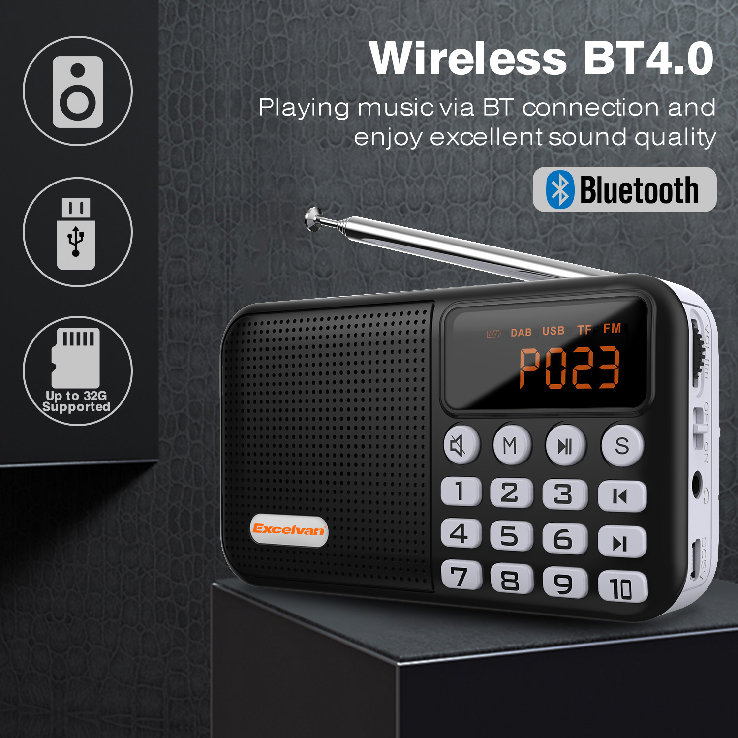digital car radio portable dab dab fm bluetooth tf card usb aux audio chargeable home. Black Bedroom Furniture Sets. Home Design Ideas