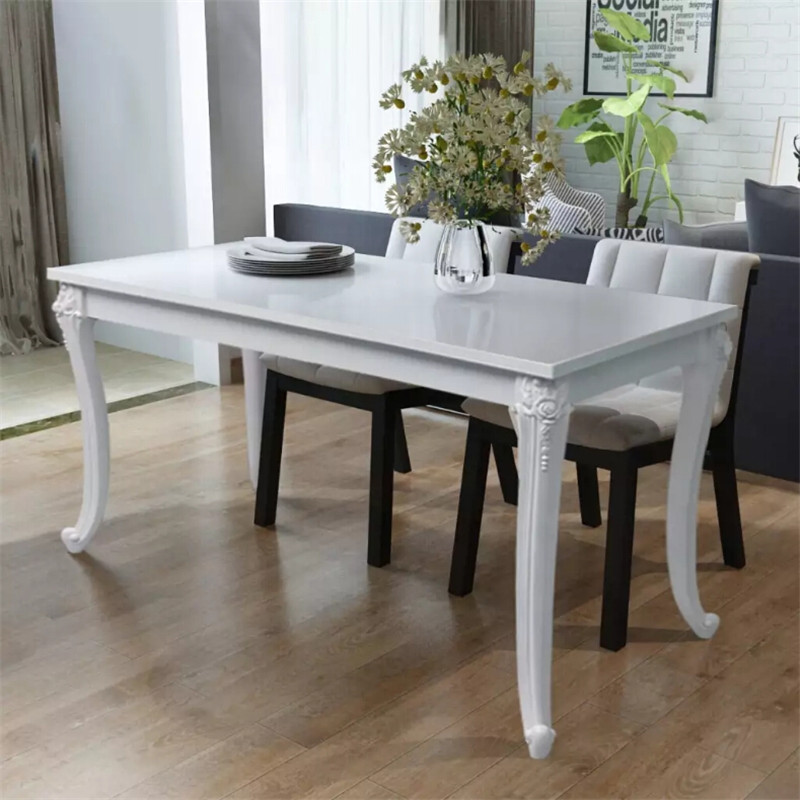 Durable White Dining Table 120x70x76 Cm High Gloss Manufactured From Medium Density Fibreboard Dining Room Furniture For HomeDurable White Dining Table 120x70x76 Cm High Gloss Manufactured From Medium Density Fibreboard Dining Room Furniture For Home