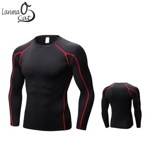 Image 2 - Lanmaocat Sportkleding Voor Mannen Fitness Jersey Shirt Custom Logo Print Mannen Bodybuilding Compressie Kleding T shirt Gratis Verzending