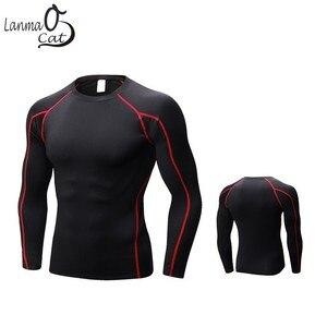 Image 2 - Lanmaocat ملابس رياضية للرجال اللياقة البدنية جيرسي قميص طباعة شعار مخصص الرجال كمال الاجسام ضغط الملابس التي شيرت شحن مجاني