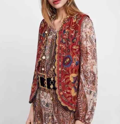 Musim Gugur dan Musim Dingin Baru Desain Perempuan Bohemian Beludru Rompi Bunga Bordir Rompi Retro Vintage BoHo Chalecos untuk Mujer