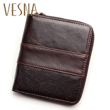 Vesna Genuine Leather Wallets Men Wallets Clutch Fashion Short Coin Purse Vintage Wallet Cowhide Leather Card Holder Coin Bag fashion women genuine leather red black bag cowhide wallet card money holder clutch purse long short purple original wallets