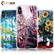 CASEIER 3D Emboss Monet Painting Phone Case For iPhone 7 Plus Soft TPU Silicone Cases 5s 6 6s 8 X Fundas Capinha