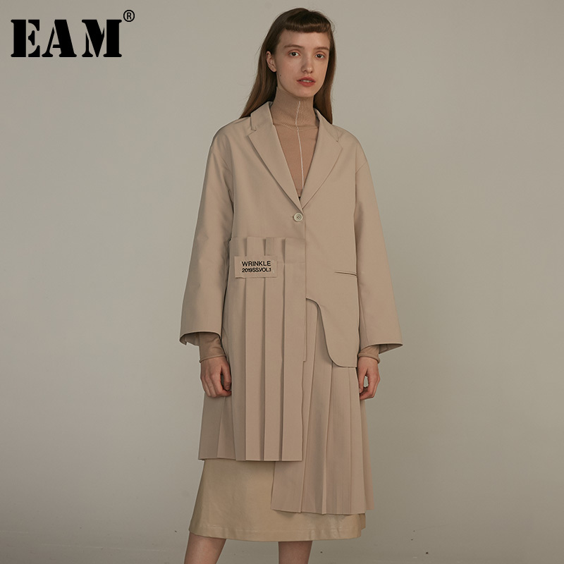 [EAM] 2019 New Spring Summer Lapel Long Sleeve Khaki Irregular Hem Pleated Split Joint Windbreaker Women   Trench   Fashion JQ483