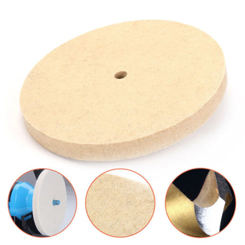 1pc Beige Polishing Buffing Grinding Wheel Wool Felt Polisher Disc 25mm Thickness 8 Inch/200mm Polishing Wheels