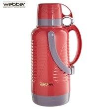 Термос вакуумная колба Webber 42002/8S 3,2 литра розовый с коричневым, со стеклянной колбой с узкой горловиной