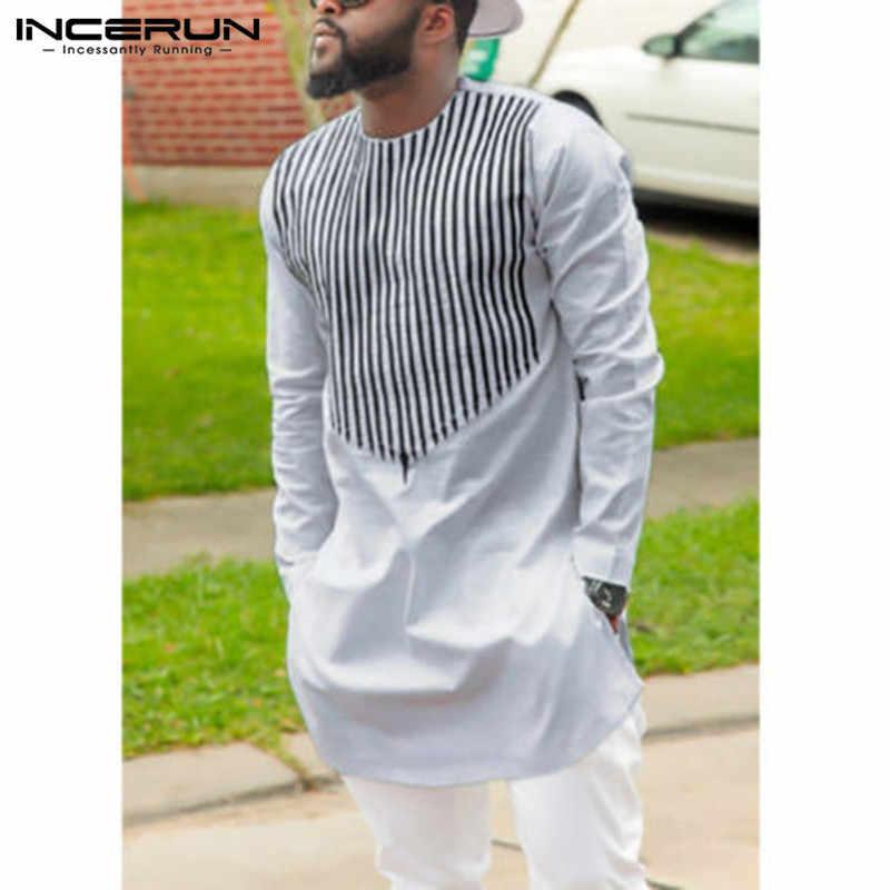 スタイリッシュな Kurta スーツ男性アフリカ Dashiki ドレスシャツストライププリントシャツ長袖白シャツアフリカ服カミーサ Hombre