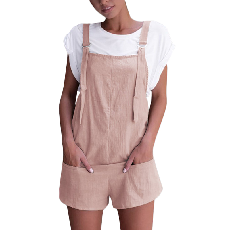 Elegant Women Jumpsuit Casual Sleeveless Short Romper Oversized Overalls Summer Solid Pockets Mid Waist Beach Dungarees Playsuit