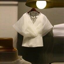 Bandage Sexy V Neck Mesh Short Sleeve Shirt Casual Women Elegant Solid Ladies Top Blouse