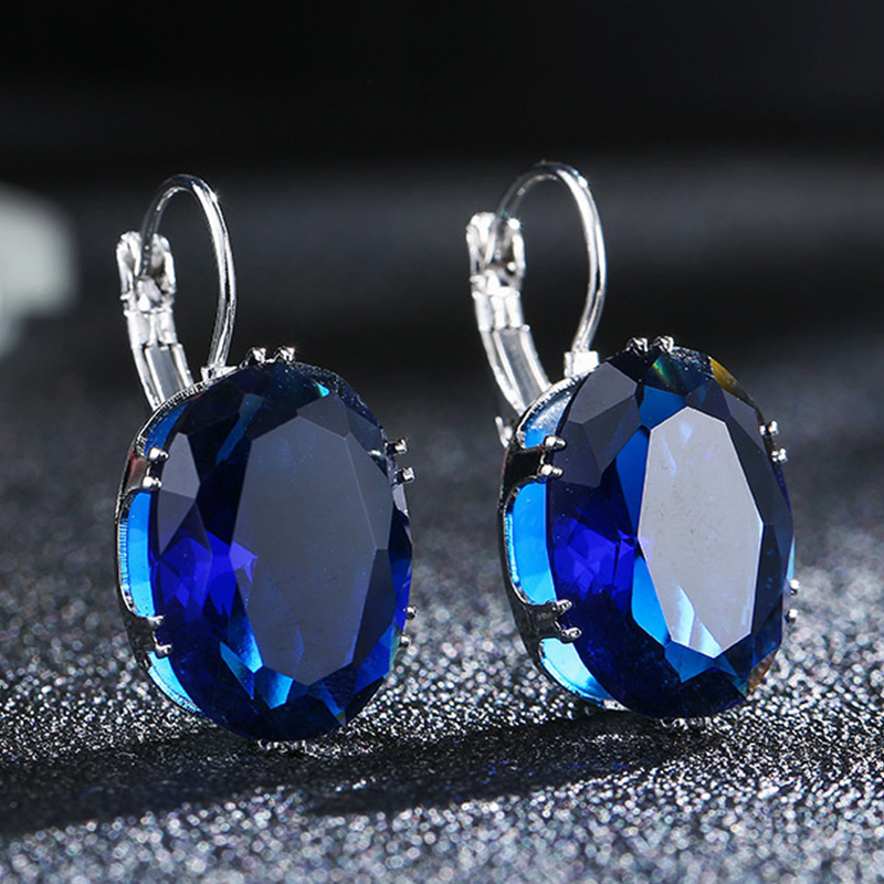 1Pair Water Drop Silver Fashion Jewelry Hot Sale Oval Crystal Big Stone Rhombus Drop Earring Valentines Day Gift
