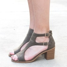 cremulen 2019 Women Sandals Fashion Narrow band Office Lady Shoes High heels Gladiator Big Size 35-42 Summer shoes