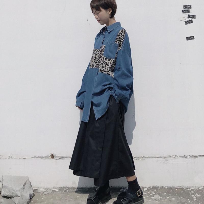 Shengpalae cowboy De Irregular Chaqueta Leopardo Diseño Mujeres Black Manga Vaquero 2019 Dividir Larga Conjunto Primavera Blue Estampado Las Camisa Fl833 rtrPUndqxw