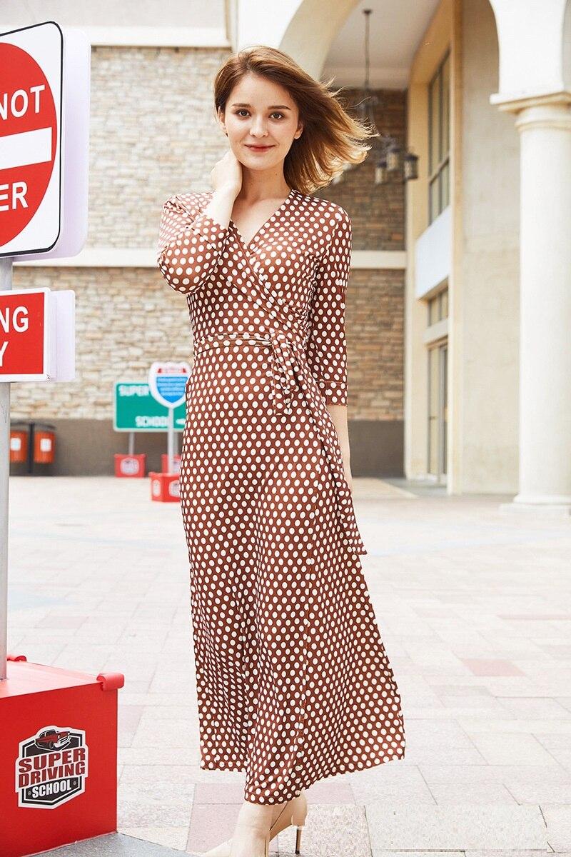 7737c29464dc Maxi 2019 Printemps Vêtements Dot Soie Ceintures Robe Qualité Femme Robes  Vacances Femmes V Des De ...