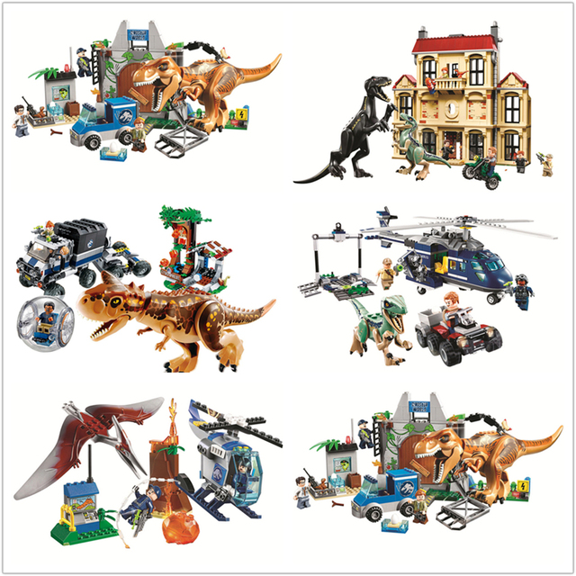 2018 New Compatible legoes Jurassic World Model Dinosaur Park T-Rex JurassicWorld Educational Brick Building Blocks Toys Gifts