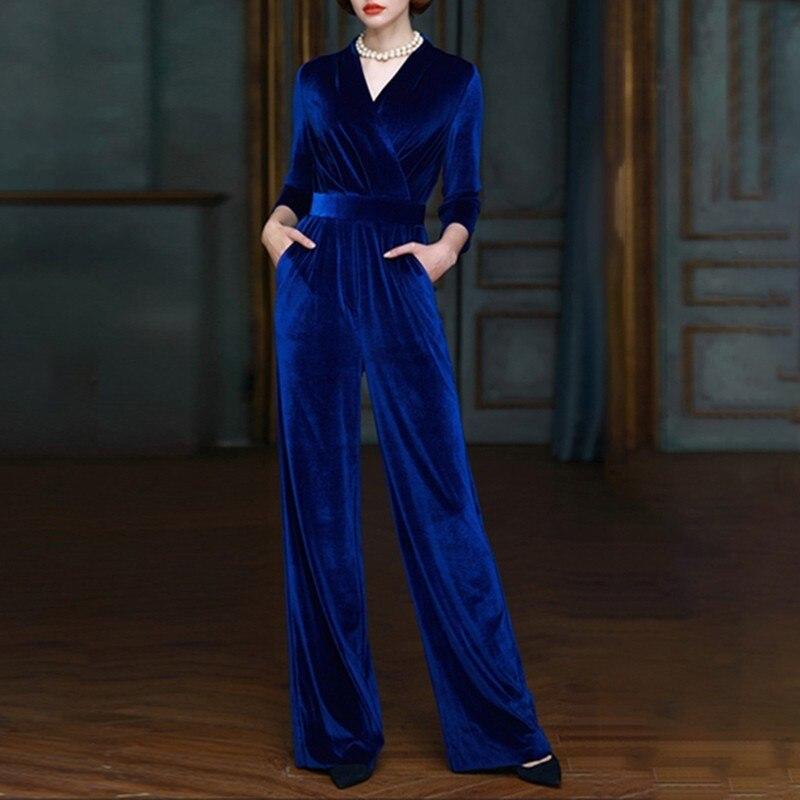 Élégante Taille V Twotwinstyle Poignet Barboteuse blue Velours Femelle 2018 Mode Manches Vêtements Haute Black Automne Bandage Salopette Cou Femmes De wqwgBx06