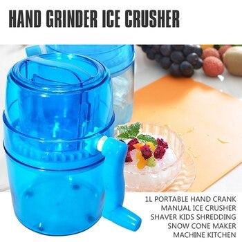 1L Portable Hand Crank Manual Ice Crusher Shaver Kids Shredding Snow Cone Maker Machine Kitchen