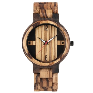 Image 2 - גברים של עץ שעונים רטרו אבוני עץ שעון זכר ייחודי מעורב צבע עץ מתכוונן בנד קוורץ שעוני יד Relogio Masculino