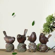 4 Pieces Of Creative Gifts American Retro Bird Custom Resin Crafts Decoration Simulation