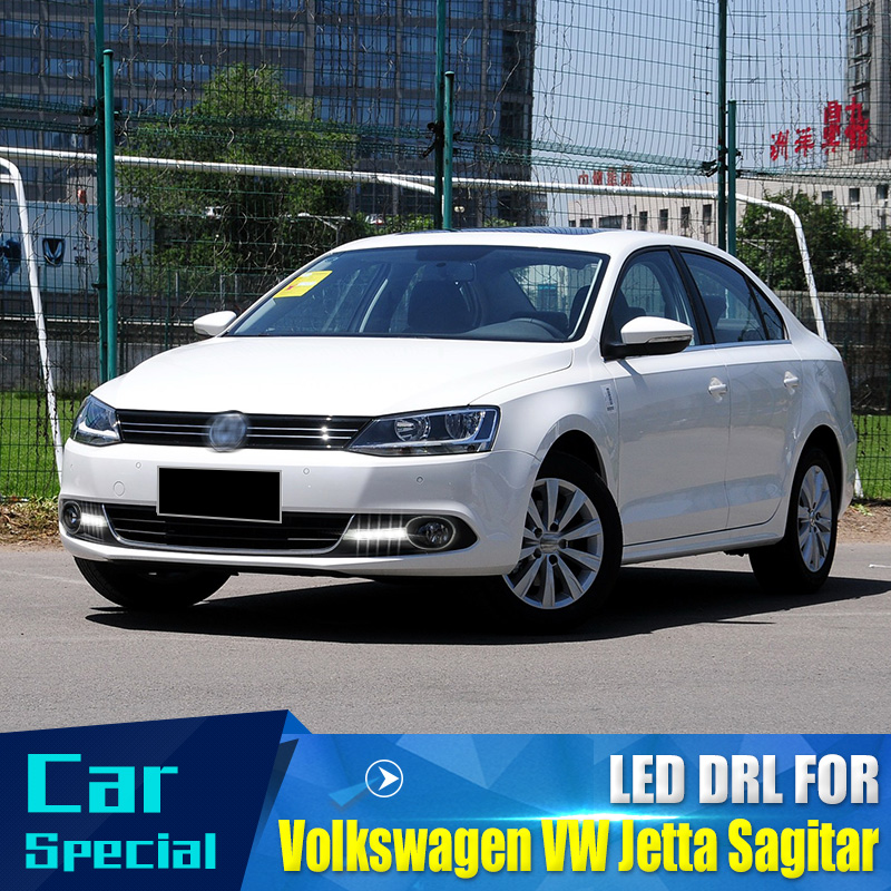 free shipping for 2012 Volkswagen VW Jetta Sagitar LED DRL Daytime Running Light with projector lens