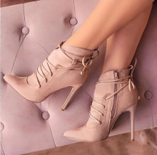цены High Quality Pink Heel Ankle Boots Pointed Toe Women Suede Bootie Thin Heels Lace-up Side Zipper Short Boots Fashion Ladies Shoe