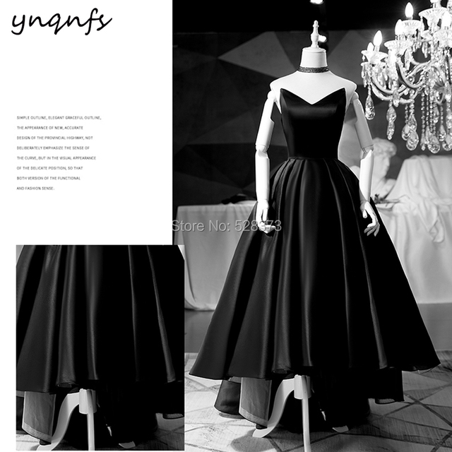 YNQNFS M162 Black Formal Dress Prom Sleeveless Satin High Low Ball Gown  Elegant Mother of the Bride Dresses Party Guest 2019 82e90b7e7d5b