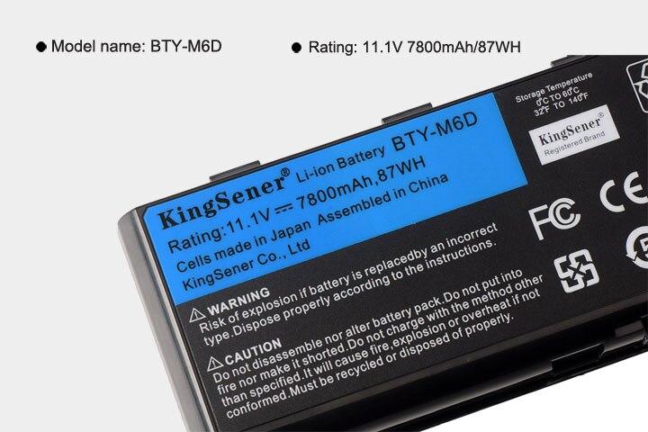 11.1 V 7800 mAh Nouvelle BTY-M6D batterie d'ordinateur portable pour MSI GT60 GT70 GX780R GX680 GX780 GT780R GT660R GT663R GX660 GT680R GT783R 9 CELLULES - 6