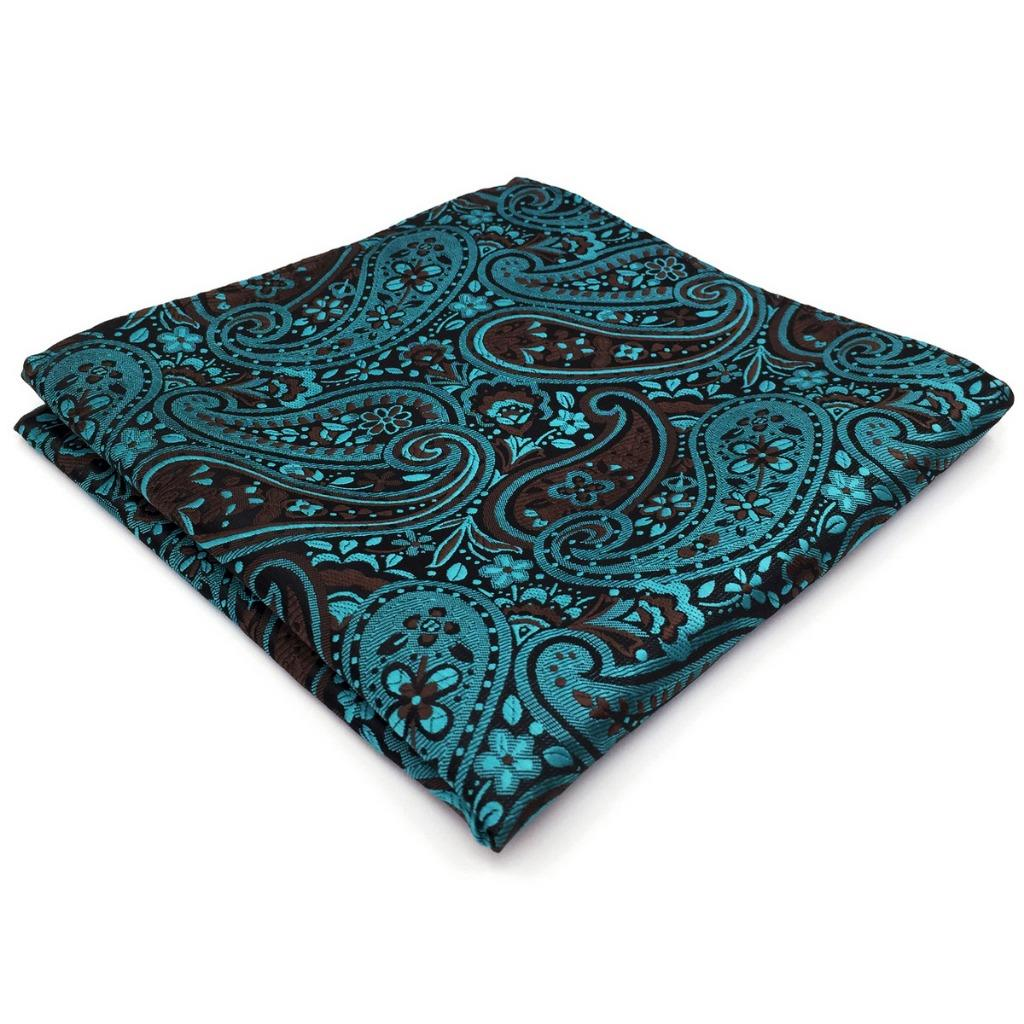 PH17 Paisley Dark Turquoise Handkerchiefs Fashion Mens Pocket Square Silk Wedding Hanky