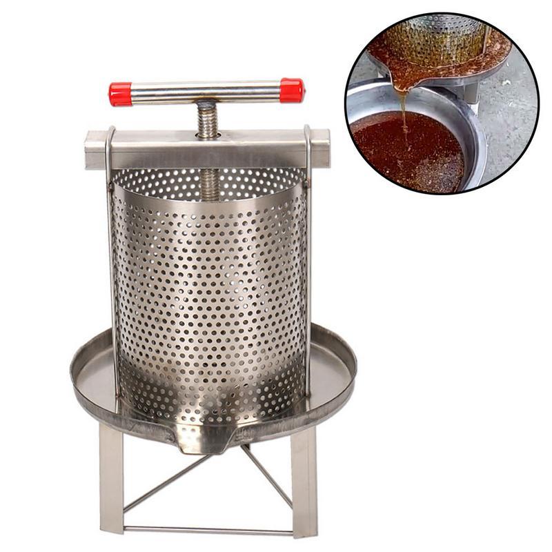 Novo manual do agregado familiar de aço inoxidável mel presser cera imprensa apicultura ferramenta jardim fornecimento - 3