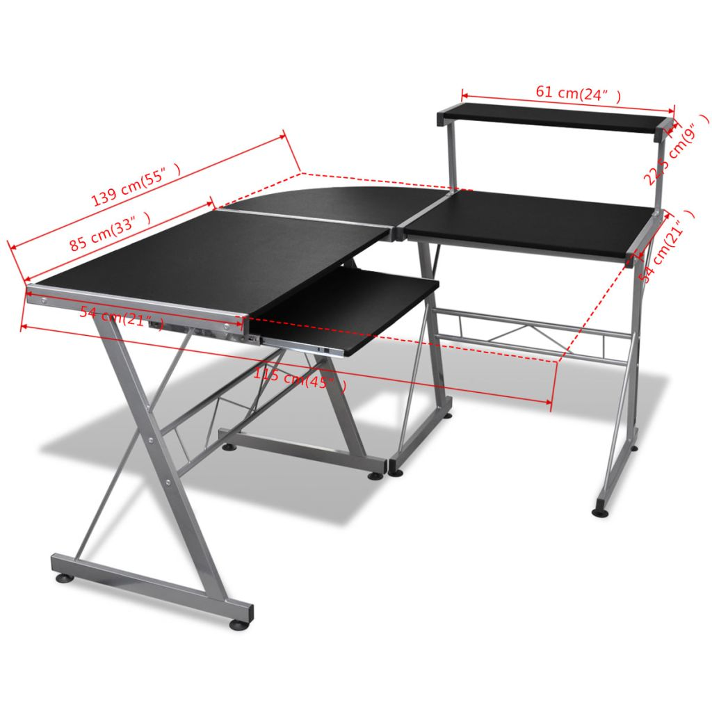 Durable Wooden Splicing Study Table Writing Desk Home Office Workstation Black With Keyboard Tray Laptop Desk Computer Desk
