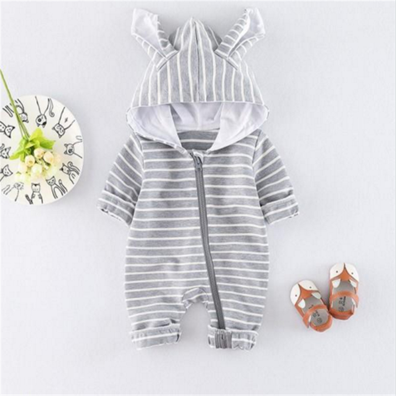 Black Friday Newborn Baby Boy Girl   Romper   Striped Jumpsuit Rabbit Ears Playsuit Zipper Outfit Clothes 0-24M