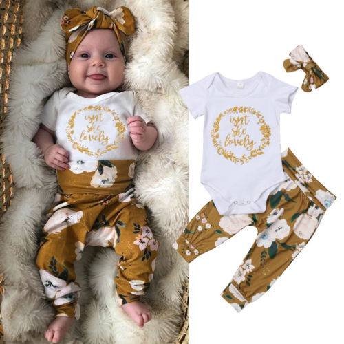 Pudcoco Newborn Infant Baby Girl 3pcs Clothes Jumpsuit Letter Bodysuit + Floral Print Pants Outfits Clothes Set