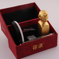 Chinese Culture Combination word Monkey Shape 18KT Gold Plated Metal Seal Stamps For Scrapbooking Gift For Friend