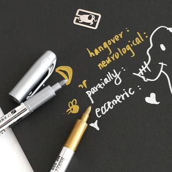 2 Pcs DIY Metal Waterproof Permanent Paint Marker Pens Sharpie Gold and Silver 1.5mm Student Supplies Craftwork Pen Art painting Marker Pens