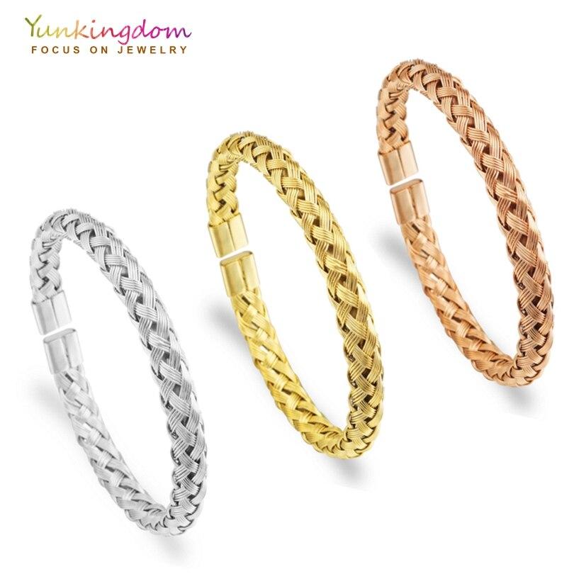 Yunkingdom roestvrij stalen armbanden en armbanden voor vrouwen geweven ontwerp armbanden drie kleuren gouden dames armbanden Dropshipping