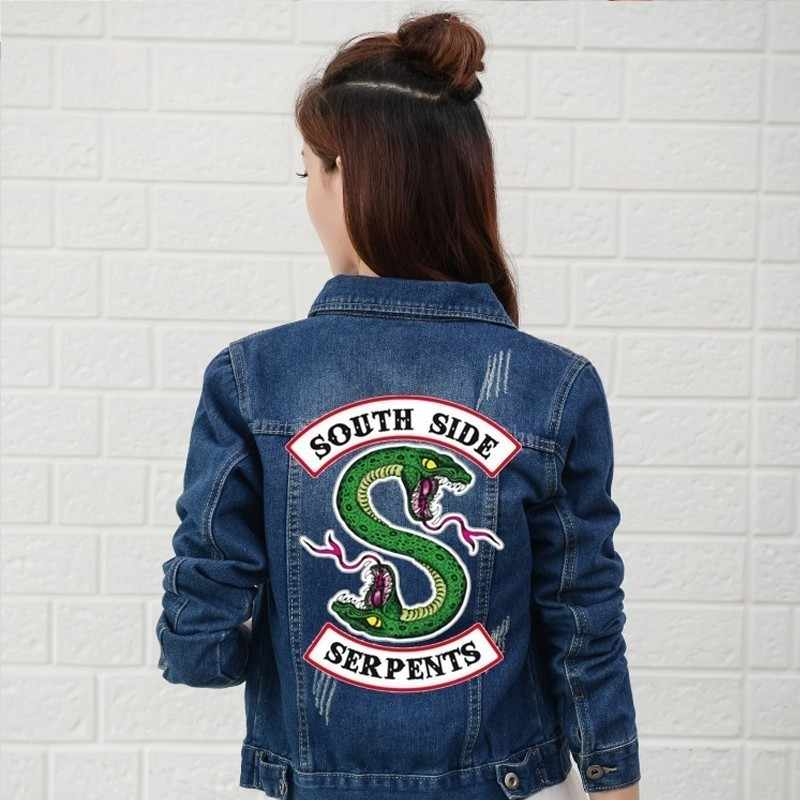 Riverdale 2019 Denim Jacket South Side Serpents Streetwear Tops Spring Jeans Women Jacket Harajuku Fashion Denim Clothing Female