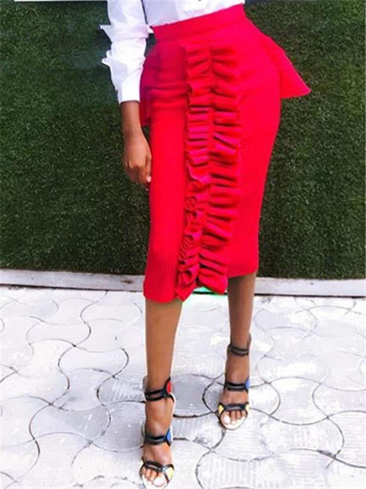 Women Tight Pencil Skirt High Waist Slim Ruffle Modest Package Hip Party Night Classy Saias Jupe Falads Elegant Office Work Wear