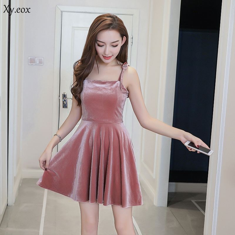 ecf74cdf1bdb Detail Feedback Questions about Backless Sexy Velvet Dress Women Camisole  Deep Round Neck Casual Velour Evening Party Women Dresses on Aliexpress.com  ...