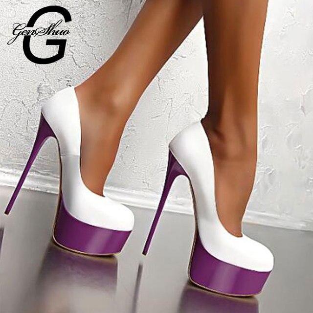GENSHUO High Heels Shoes Women Stiletto Zapatos De Mujer Round Toe Platform Party Wedding Shoes Ultra Thin Heeled Women's Pumps