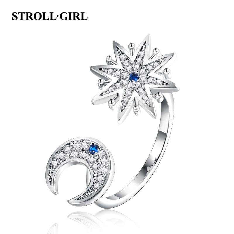 Strollgirl 100% 925 Sterling Silber Engagement Ring Funkelnden Mond Und Stern-finger-ringe Für Frauen Mode Schmuck Kostenloser Versand Klar Und GroßArtig In Der Art Schmuck & Zubehör