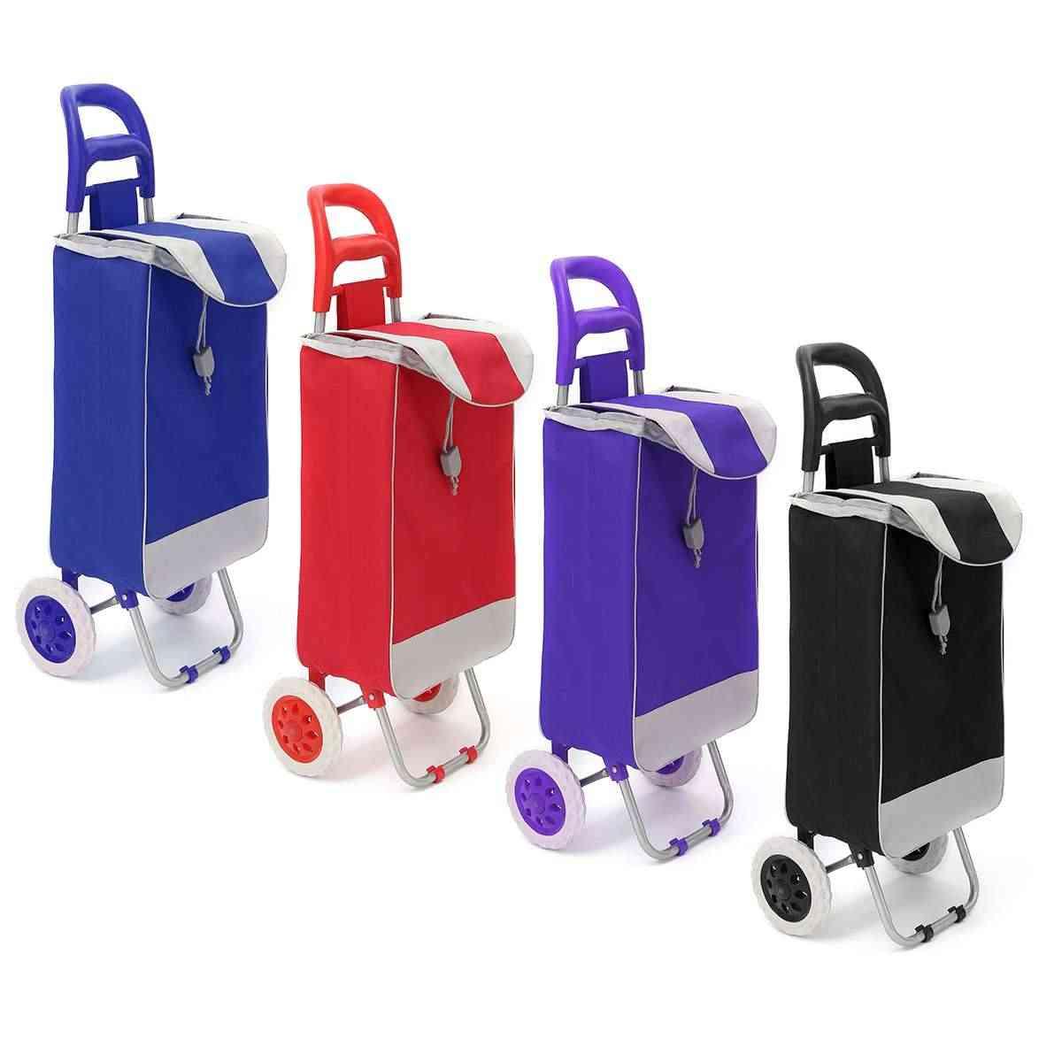 45L عربة تسوق قابلة للطي حقيبة على عجلات دفع حمل عربة عربات حقيبة العربة سلة الأمتعة عجلات أكسفورد النسيج قابلة للطي