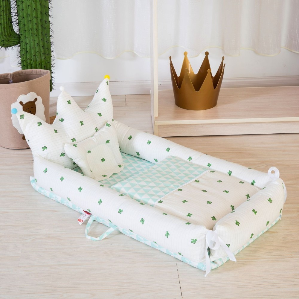 Baby Cot Pillow Quilt Three-piece Suit Portable Crib Cradle Children's Room Decoration Newborn Gift With Bumper Mattress