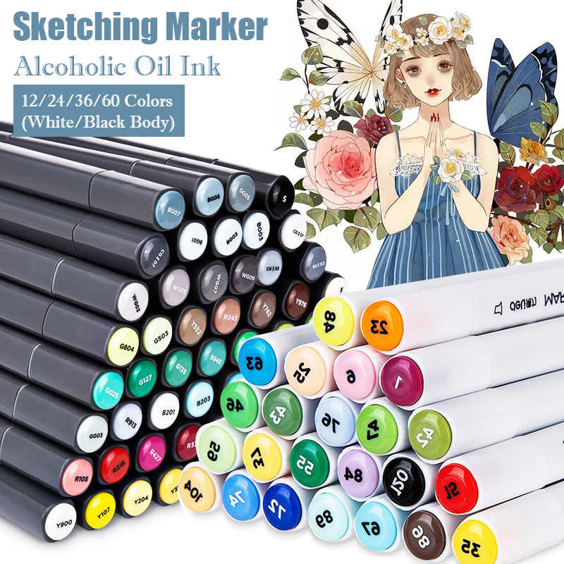 Deli Markers Pen Set 12/24/36/48/60 Kleuren Manga Sketch Marker Dual Headed Tekening Alcohol Gebaseerd art Brush Pennen Art Supplies