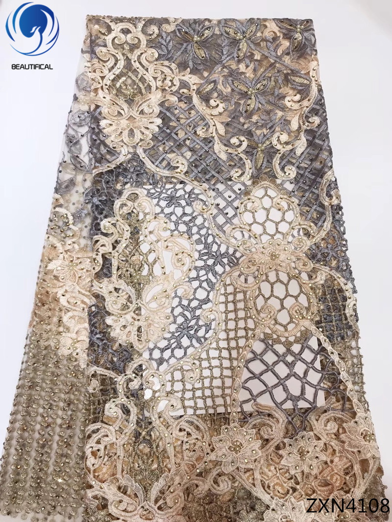 Beautifical french net lace fabrics with beads 2018 net lace fabrics african laces beads embroidered for women 5yards/lot ZXN41Beautifical french net lace fabrics with beads 2018 net lace fabrics african laces beads embroidered for women 5yards/lot ZXN41
