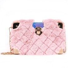8452d9925865 New Faux Fur Metal Corner Luxury Fashion Box Design Women Clutch Bag Mini  Chain Purse Crossbody Bag Handbag Flap Shoulder Bag