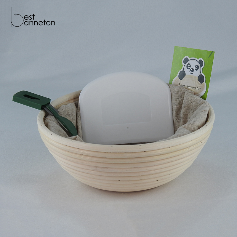 Banneton Proofing Basket , Perfect For Baking  Bread, Set Includes, 10 Inch Banneton, Linen Liner, Dough Scraper and Bread Lame