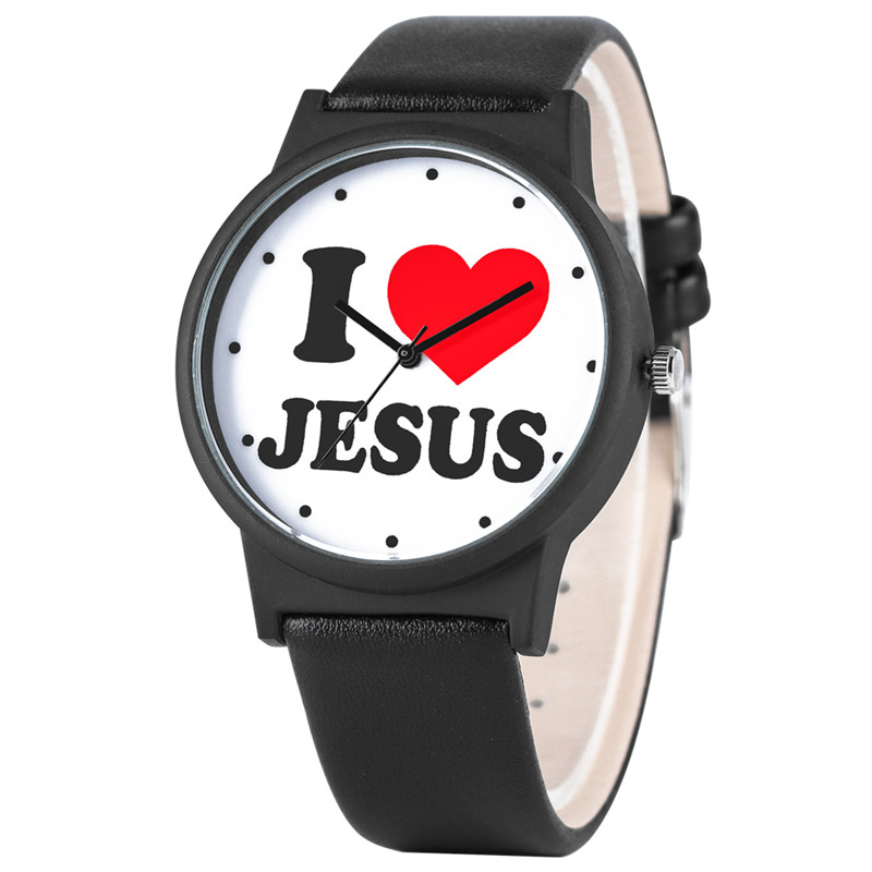 I Love Jesus Series Watch For Women Men Special Elegant PU Leather Strap Quartz Watch Movement Fashion Large Dial Wrist Watch