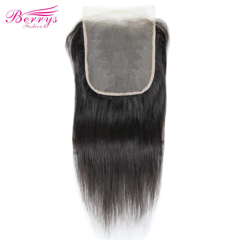Lace Closure Human-Hair-Extensions Brazilian-Hair Berrys Fashion Straight 7x7 Prepluncked