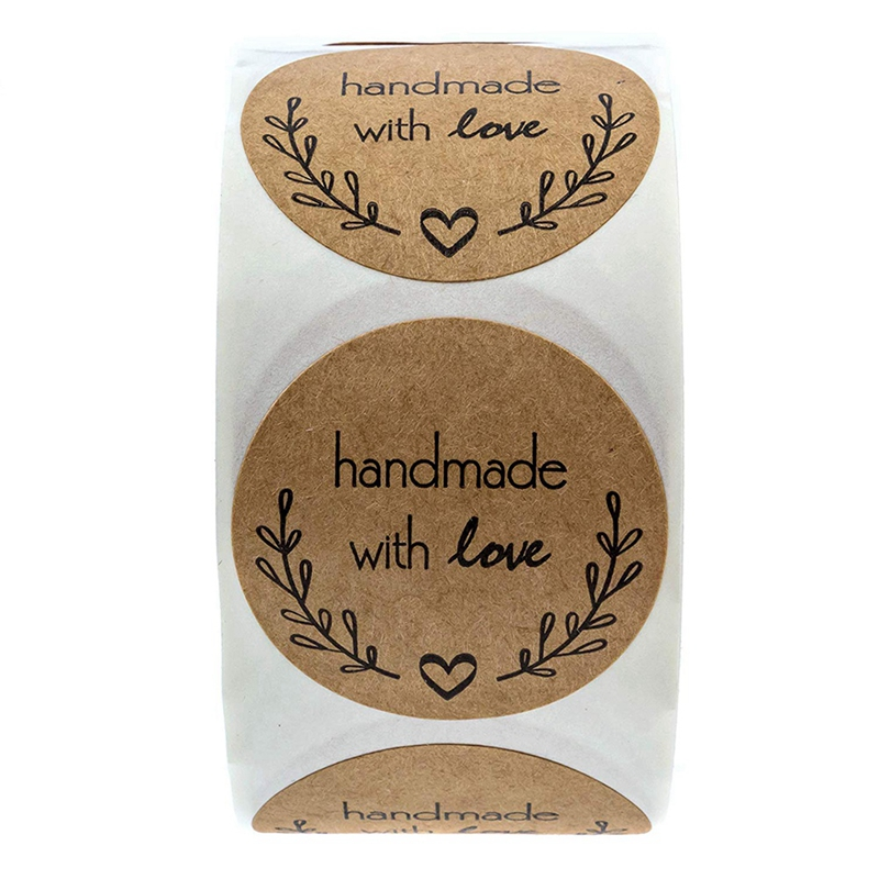 1 Inch Round Natural Kraft Olive Branch Handmade With Love Stickers / 500 Labels Per Roll